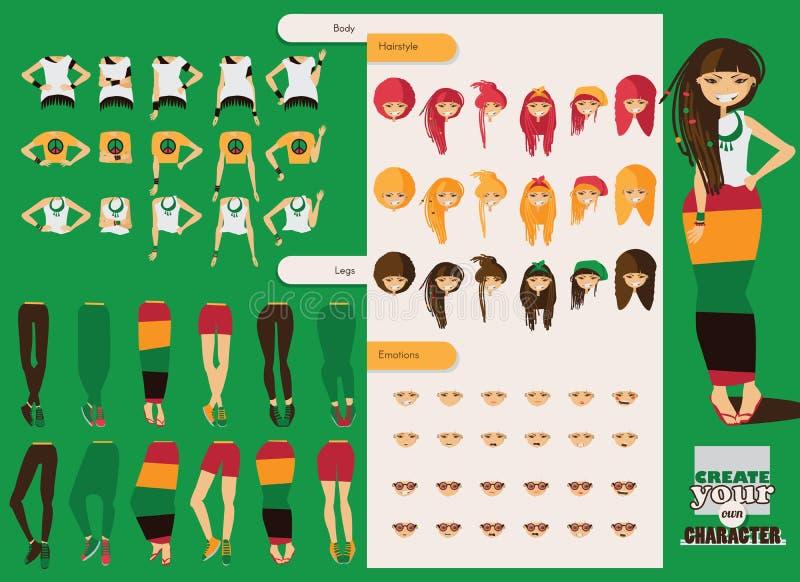 Wektorowy konstruktor rastafarian dziewczyna charakter Dodatkowe części ciała w różnorodnym odziewają, różne emocje ustawiać, ras ilustracja wektor