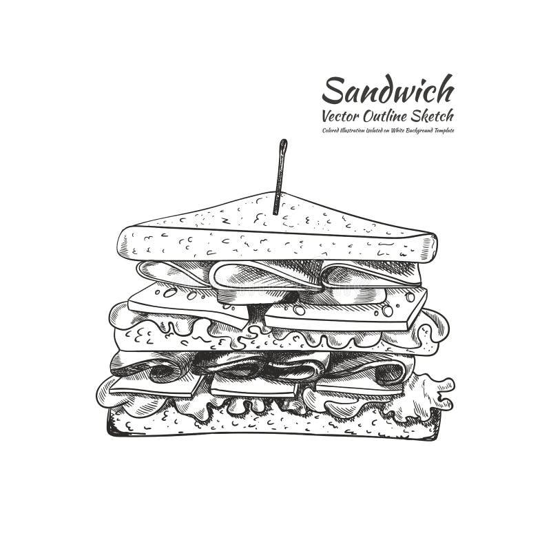 Wektorowy konturu rysunek, kanapka z wykałaczką Odizolowywającą na Białym tle, ilustracja ilustracja wektor