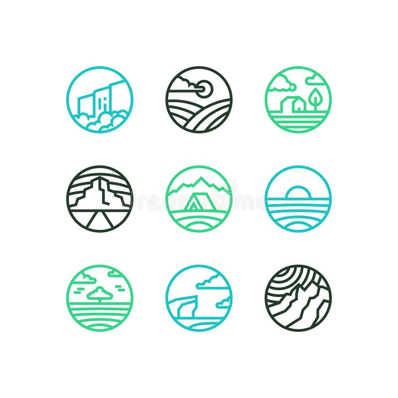 Wektorowy konturu set natura logowie Kreskowej sztuki eps10 krajobrazy z siklawą, morzem, górami, polem i drewnem, royalty ilustracja