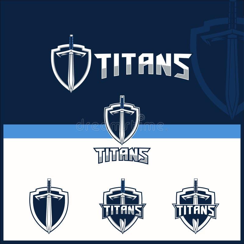 Wektorowy kordzik dla titans tematu logo szablonu ilustracja wektor