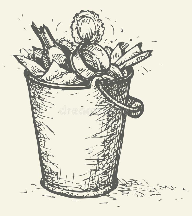 Wektorowy kosz na śmieci pełno śmieci ilustracja wektor
