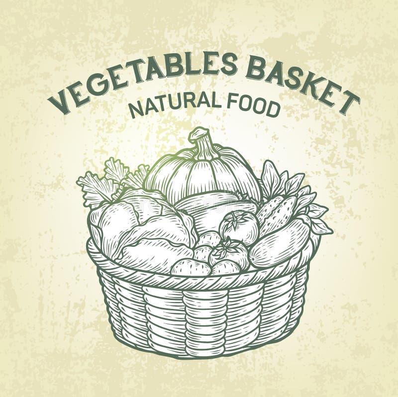 Wektorowy kosz z świeżymi warzywami Realistyczny nakreślenie ogrodowy jedzenie, kontur, retro projekt royalty ilustracja