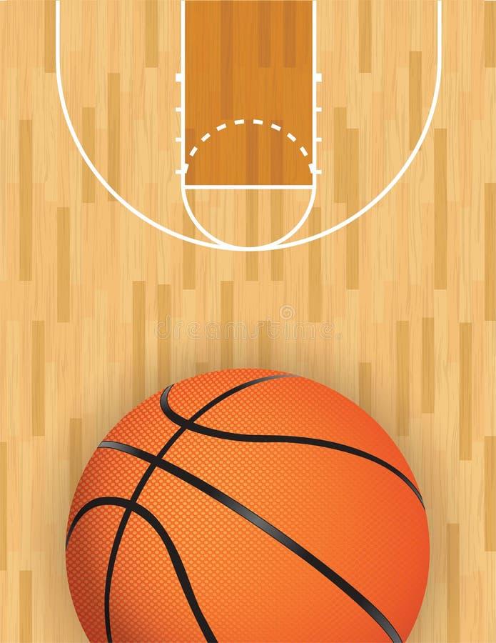 Wektorowy koszykówki i twardego drzewa sąd ilustracja wektor