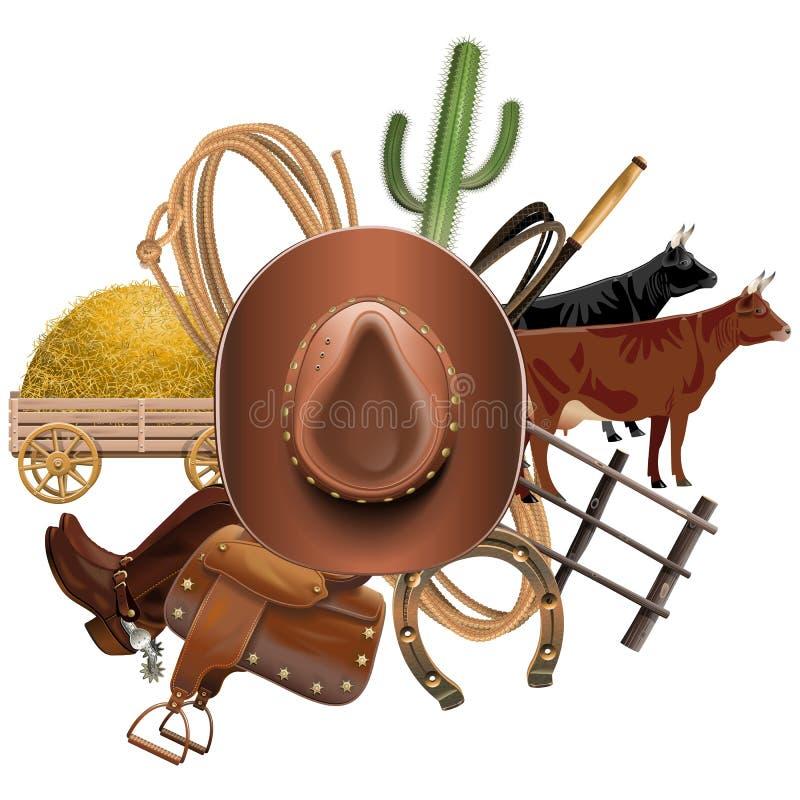 Wektorowy Kowbojski rancho pojęcie ilustracja wektor