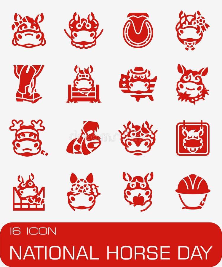 Wektorowy Krajowy Koński dzień ikony set ilustracji