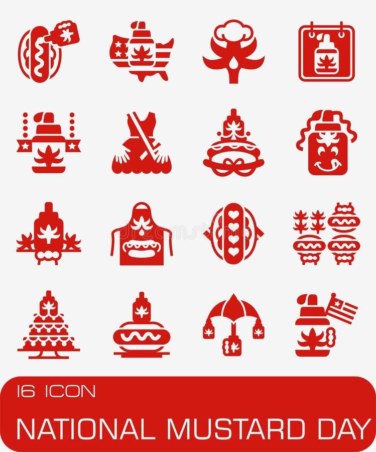 Wektorowy Krajowy musztarda dnia ikony set royalty ilustracja
