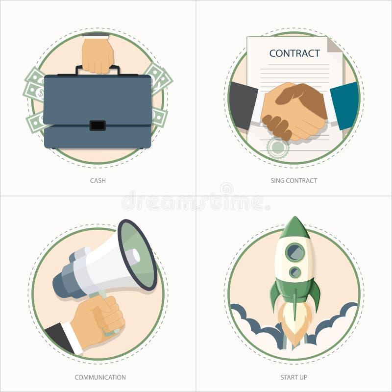Wektorowy kreatywnie biznesowy ikona set royalty ilustracja