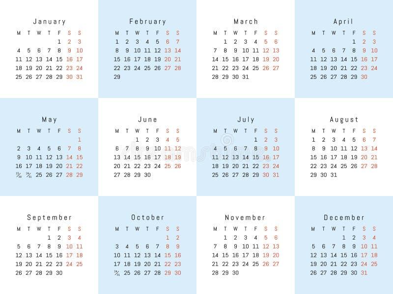 Wektorowy kreatywnie kalendarz obrazy stock