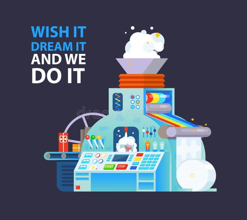 Wektorowy kreatywnie plakatowy druk z prezent fabryki maszyną ilustracja wektor