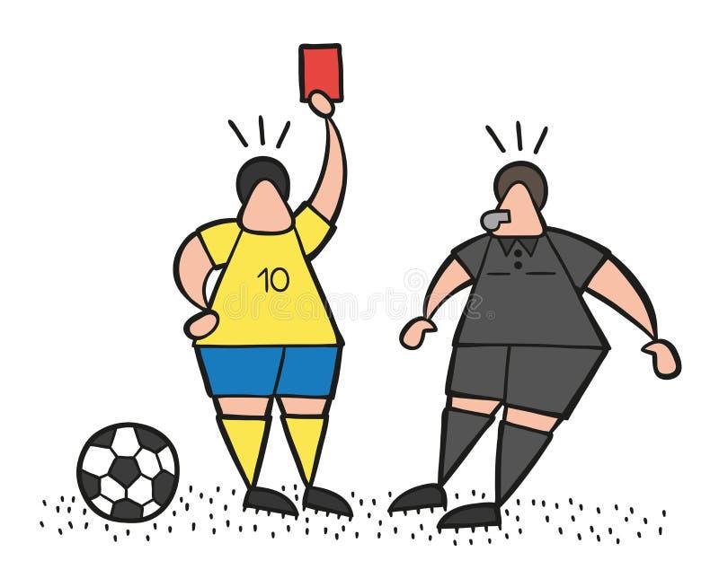 Wektorowy kreskówka gracza piłki nożnej mężczyzna pokazuje czerwoną kartkę arbiter royalty ilustracja