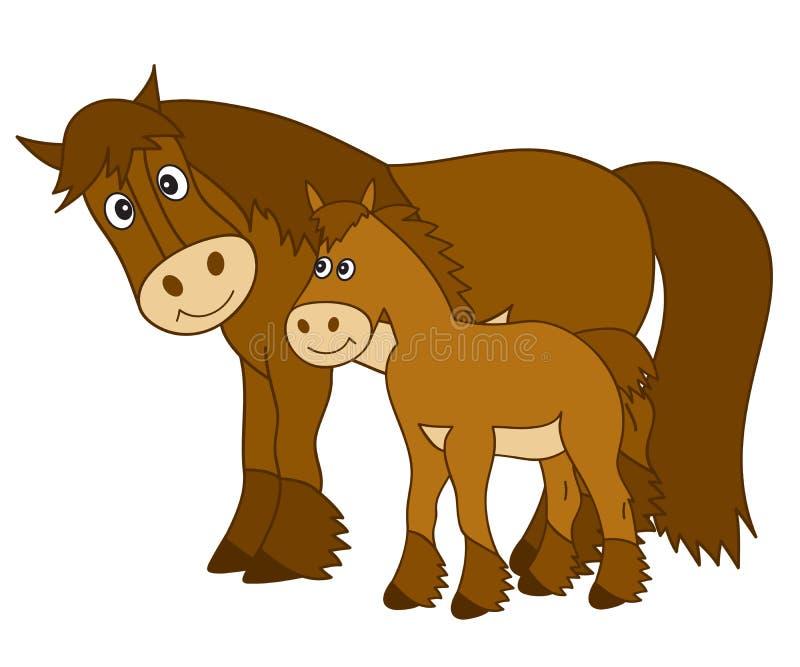 Wektorowy kreskówka koń z źrebięciem, Koński Clipart ilustracja wektor