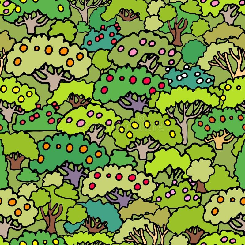 Wektorowy kreskówka krzaków i drzew bezszwowy deseniowy tło z ilustracji