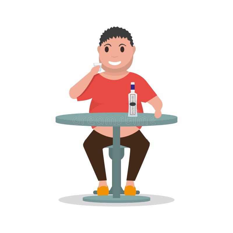 Wektorowy kreskówka mężczyzna alkoholicznego napoju alkoholu stół ilustracja wektor