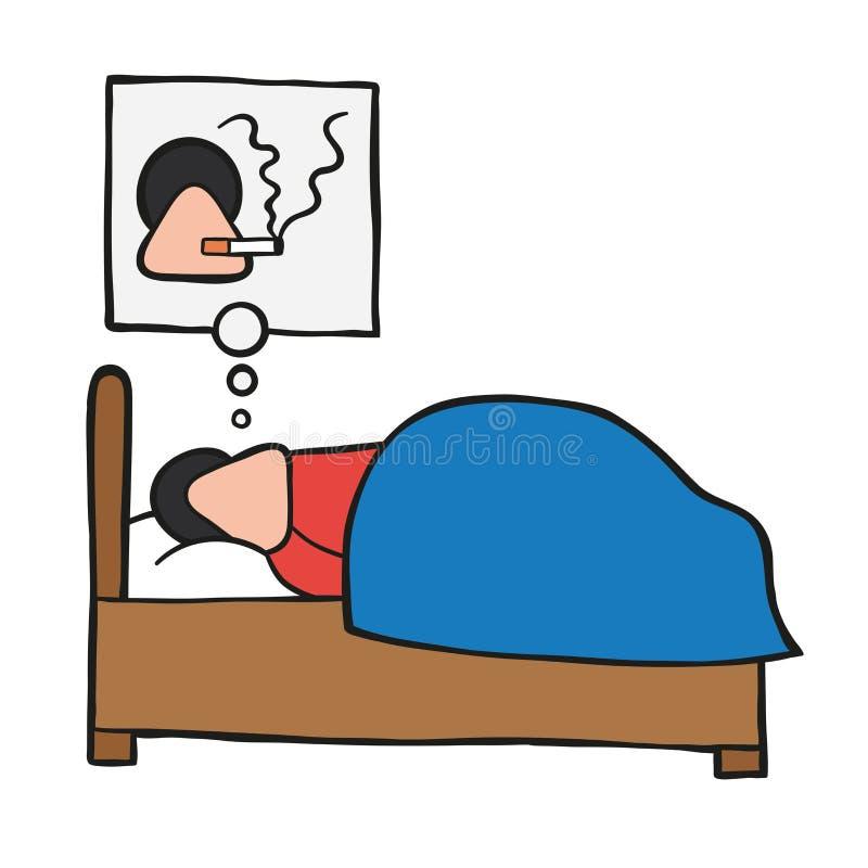Wektorowy kreskówka mężczyzna dosypianie i dymienie papieros w jego sen ilustracja wektor