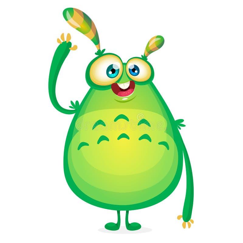 Wektorowy kreskówka obcy mówi Cześć Zielony śluzowaty obcy potwór z czułkami Szczęśliwy Halloween zieleni potwora falowanie ilustracji