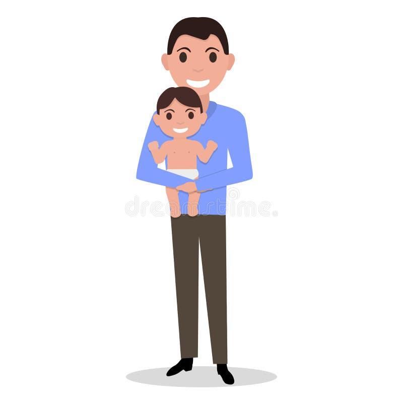 Wektorowy kreskówka ojciec samotnie z dzieckiem ilustracja wektor