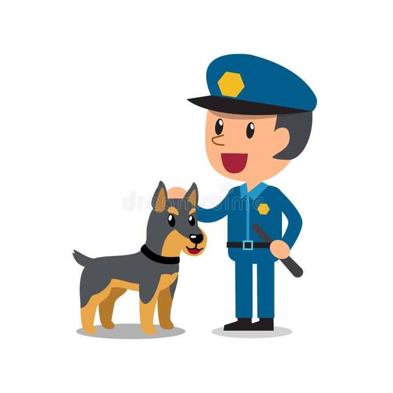 Wektorowy kreskówka pracownika ochronego policjant z milicyjnym strażowym psem ilustracji