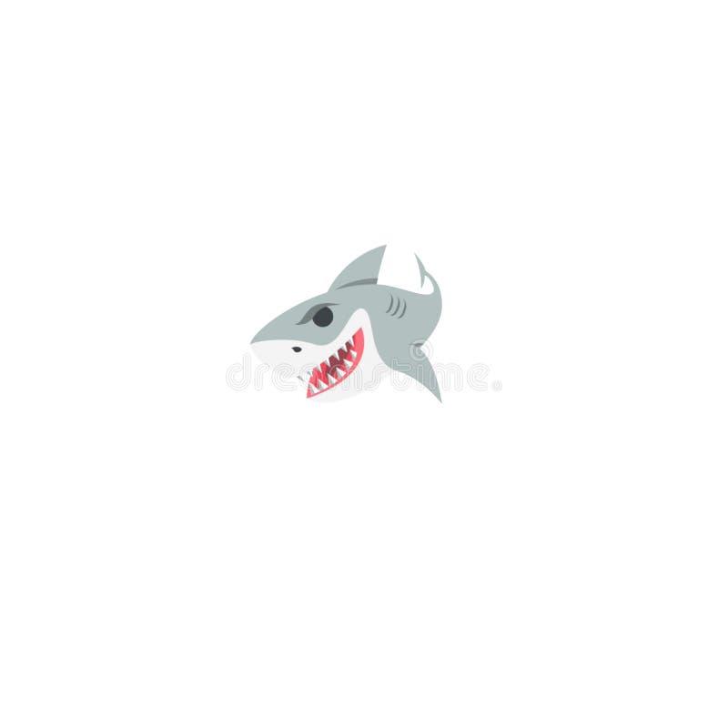 Wektorowy kreskówka rekin, kreskówki ręki rysunek royalty ilustracja