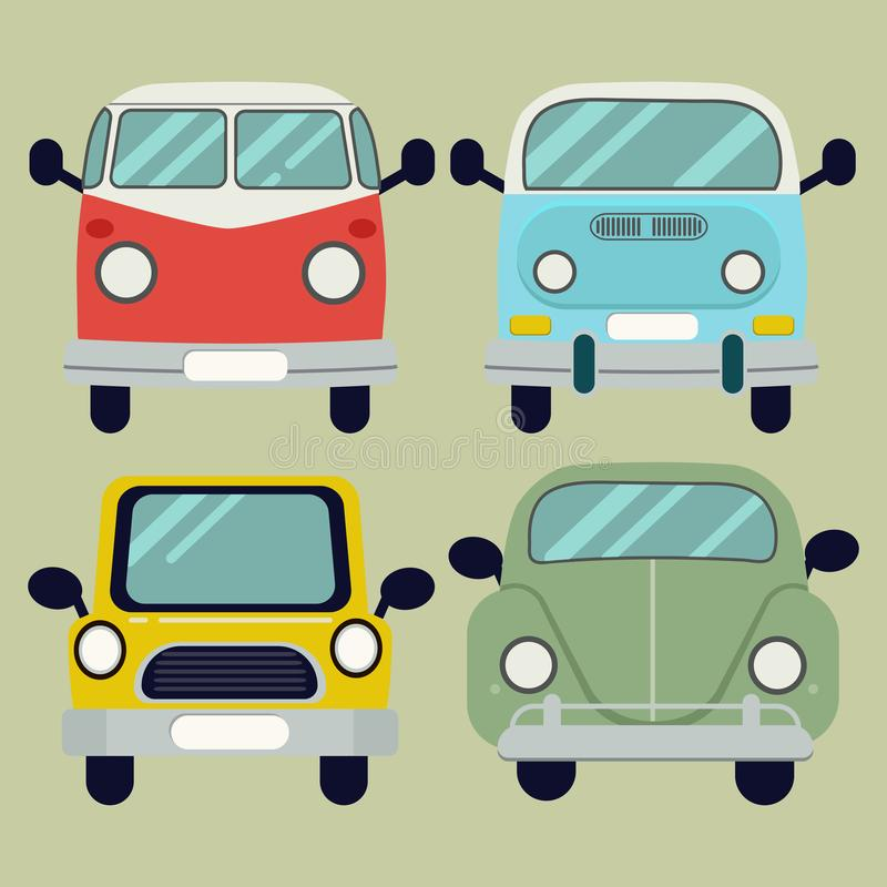 Wektorowy kreskówka samochodu paczki set royalty ilustracja