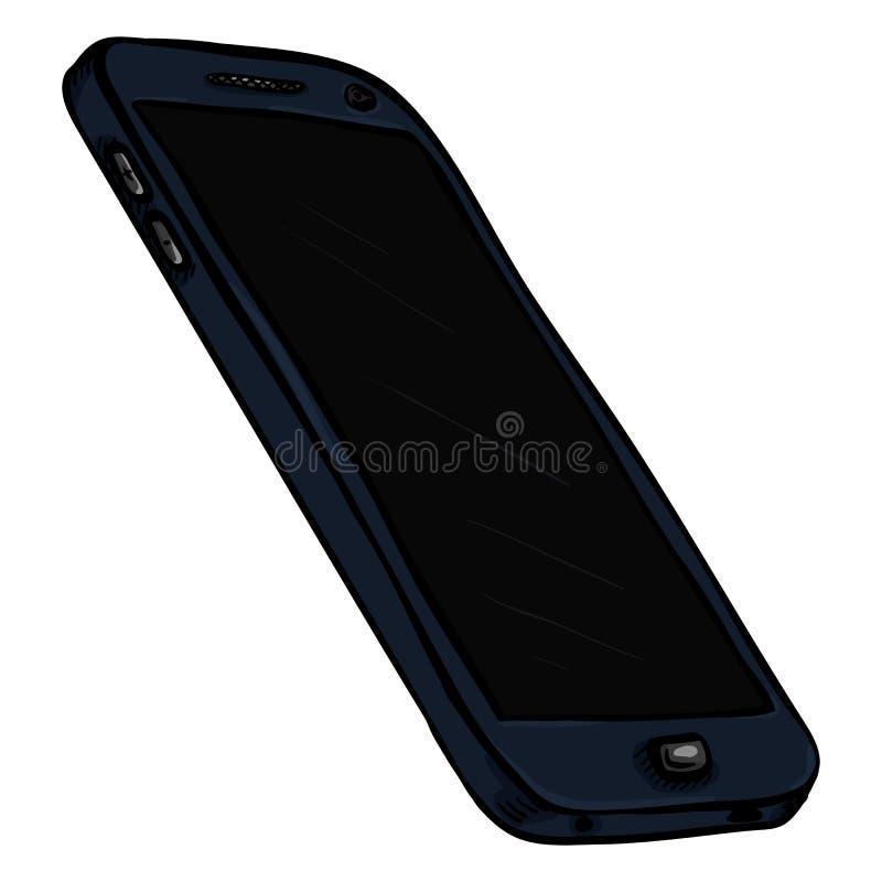 Wektorowy kreskówka zmrok - błękitny telefon komórkowy cellphone royalty ilustracja