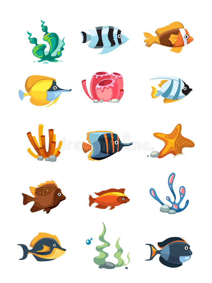 Wektorowy kreskówki akwarium wystrój protestuje, podwodne wartości dla telefon komórkowy gry ilustracji