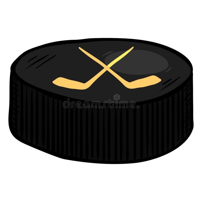 Wektorowy kreskówki czerni krążek hokojowy dla Lodowego hokeja ilustracja wektor