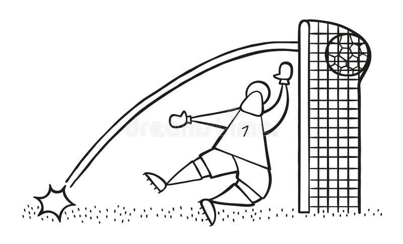 Wektorowy kreskówki goolkeeper mężczyzna uznaje cel ilustracja wektor