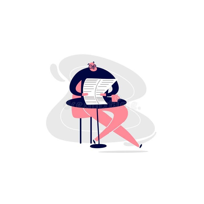 Wektorowy kreskówki illustrattation mężczyźni siedzi w cukiernianej pije kawie czytelniczej gazecie i ilustracja wektor