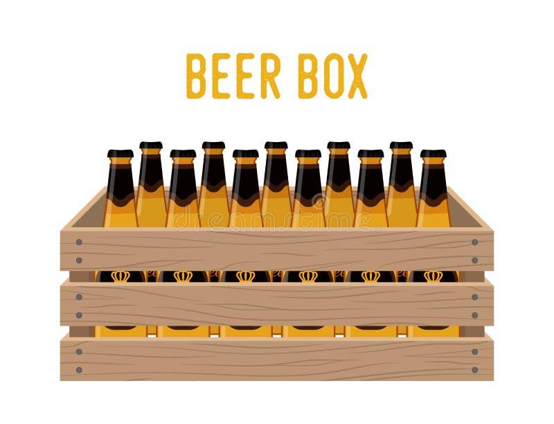 Wektorowy kreskówki pudełko z piwnymi butelkami Sklepu spożywczego kosz z alkoholu napojem ilustracji