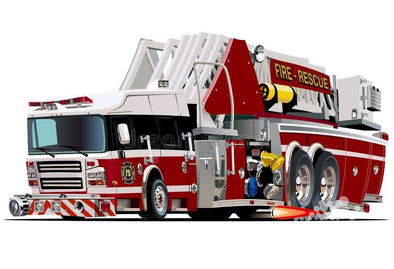 Wektorowy kreskówki samochód strażacki ilustracji