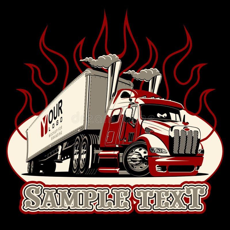 Wektorowy kreskówki semi ciężarówki szablon ilustracja wektor