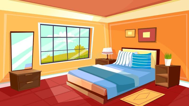 Wektorowy kreskówki sypialni wnętrza tło ilustracji
