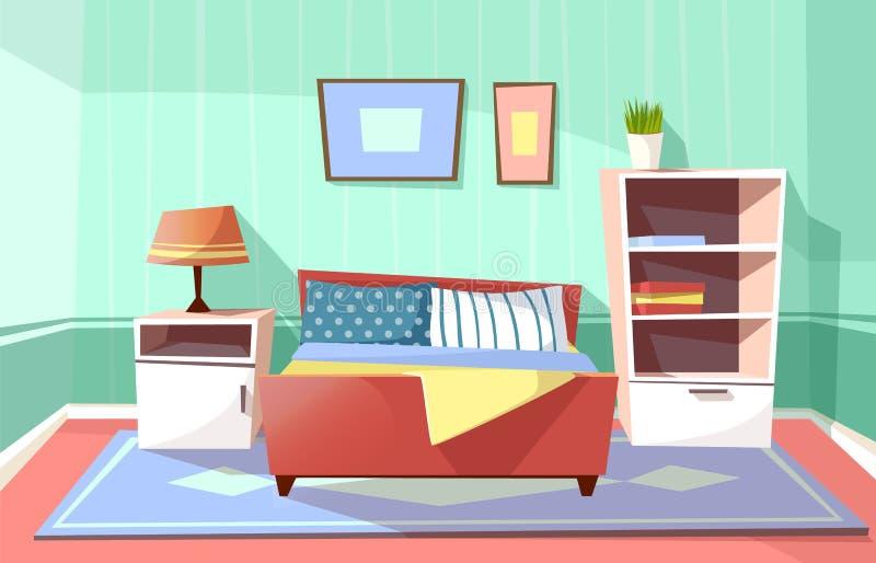 Wektorowy kreskówki sypialni wnętrza tło ilustracja wektor