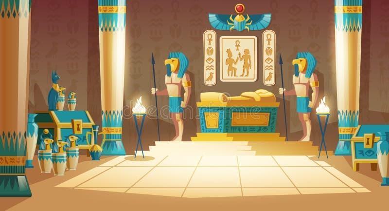 Wektorowy kreskówki tło, antyczny pharaoh grobowiec ilustracja wektor