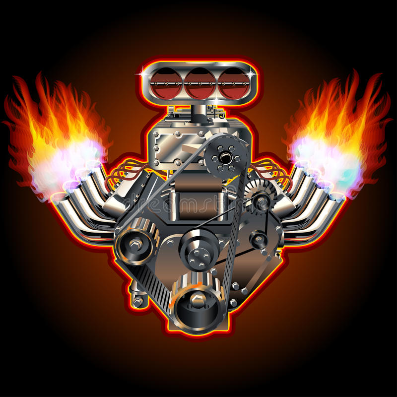 Wektorowy kreskówki Turbo silnik ilustracji