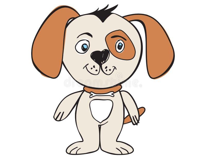 Wektorowy kreskówki zwierzę Słodki mały pies, szczeniak royalty ilustracja