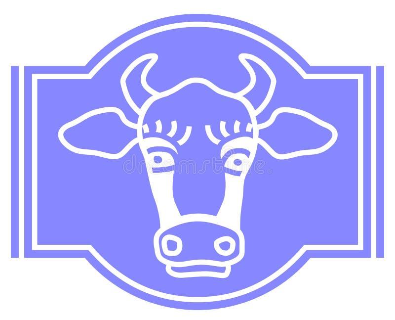 Wektorowy krowa logo dla etykietki, fermentujący dojny produkt zwierz?t gospodarstwa rolnego krajobraz wiele sheeeps lato ilustracji