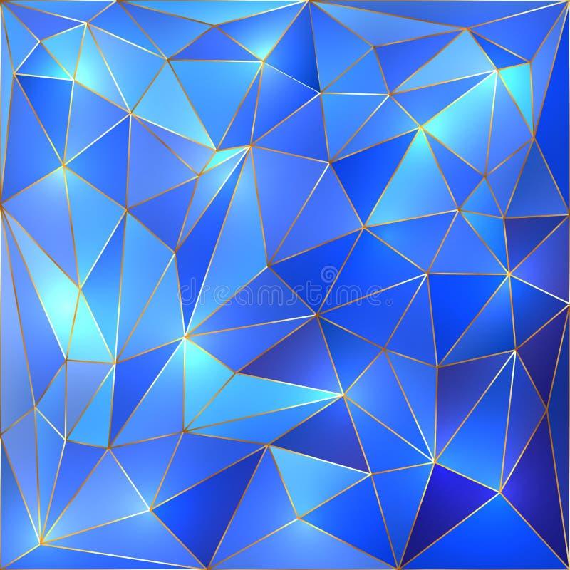 Wektorowy krystaliczny błękitny i złocisty kratownicy tło ilustracji