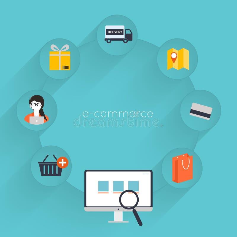 Wektorowy kupienie online, handel elektroniczny i ilustracja wektor