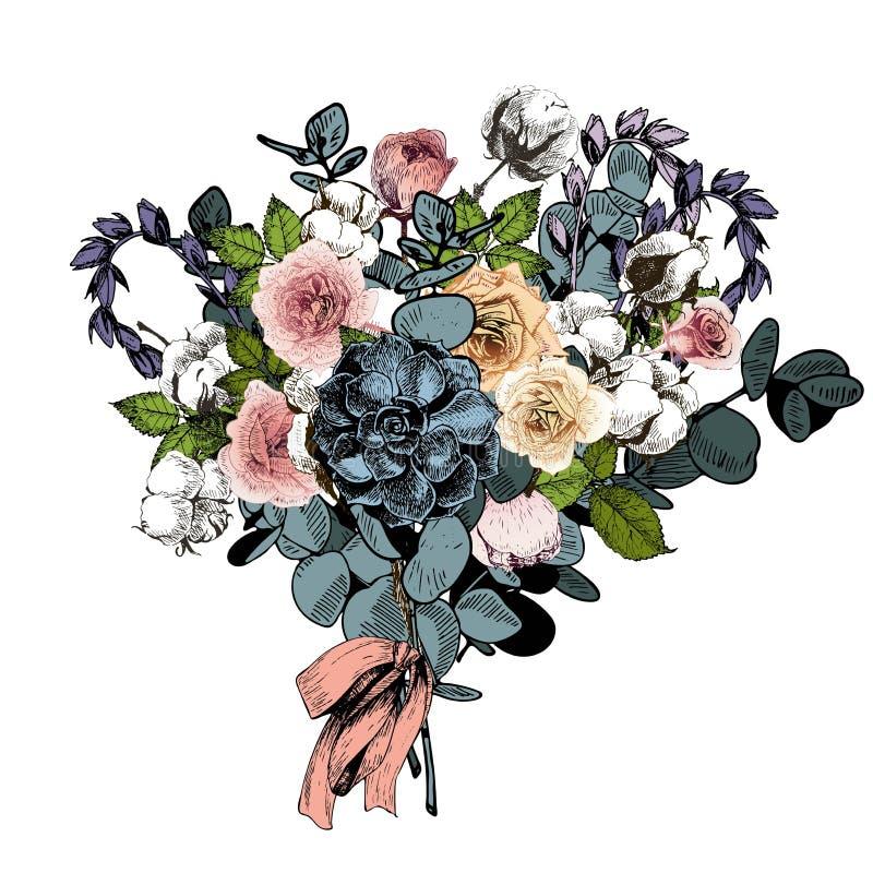 Wektorowy kwiatu przygotowania 3 bukietów ostrości przedpola ślub Angielskie róże, eukaliptus, bawełna i sukulenty, royalty ilustracja