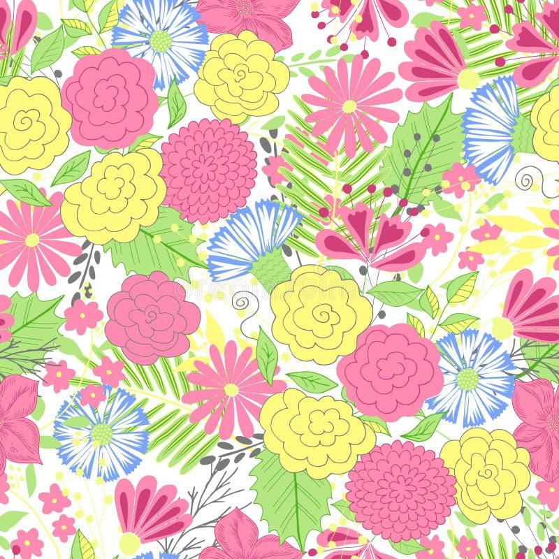 Wektorowy kwiatu wzór Kolorowa bezszwowa botaniczna tekstura, wyszczególniać kwiat ilustracje Doodle styl, skacze kwiecisty ilustracja wektor