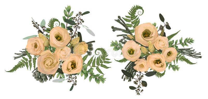 Wektorowy kwiecistego bukieta projekta set, zielony lasowy liść, brunia, paproć, rozgałęzia się boxwood i kwitnie eustoma śmietan ilustracja wektor