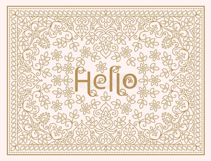 Wektorowy kwiecistego projekta szablon z literowaniem - Cześć Kreskowej sztuki elegancki projekt dla zaproszenia, kartka z pozdro ilustracja wektor
