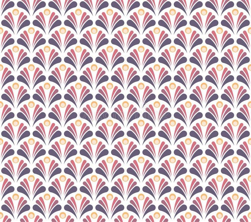 Wektorowy Kwiecisty Adamaszkowy Bezszwowy wzór Elegancki abstrakcjonistycznej sztuki nouveau tło Klasyczna kwiatu motywu tekstura ilustracja wektor