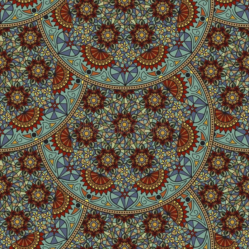 Wektorowy kwiecisty bezszwowy deseniowy element w Arabskim stylu Arabesku wzór Wschodni etniczny ornament ilustracji