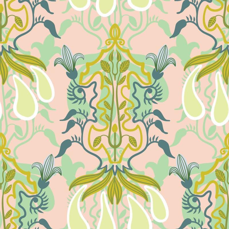 Wektorowy kwiecisty bezszwowy wzór w sztuki Nouveau stylu ilustracja wektor