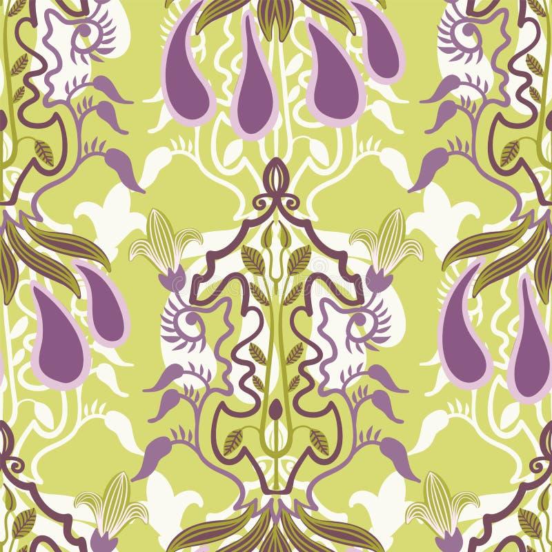 Wektorowy kwiecisty bezszwowy wzór w sztuki Nouveau stylu ilustracji