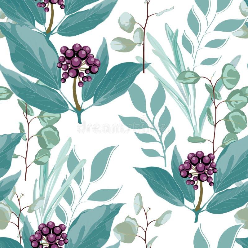Wektorowy kwiecisty bezszwowy wzór z dzikimi jagodami rozgałęzia się, trawy, eukaliptus w nowych zielonych kolorach ilustracja wektor