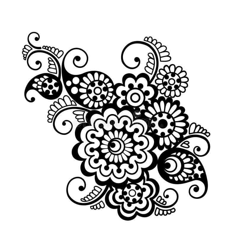 Wektorowy kwiecisty deseniowy element, indyjski ornament royalty ilustracja
