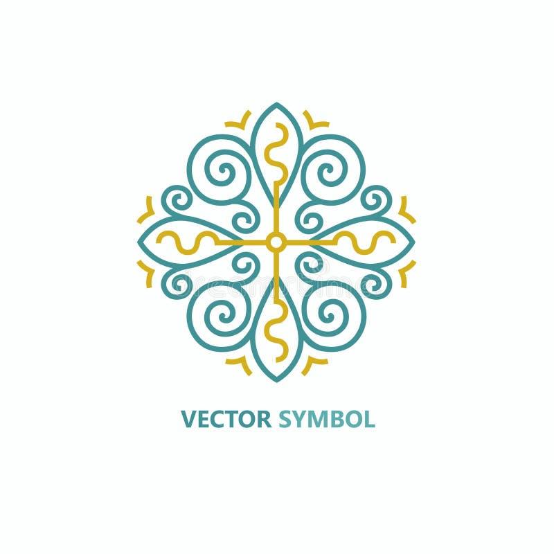 Wektorowy kwiecisty ikony i loga projekta szablon w konturu stylu - abstrakcjonistyczny monogram royalty ilustracja